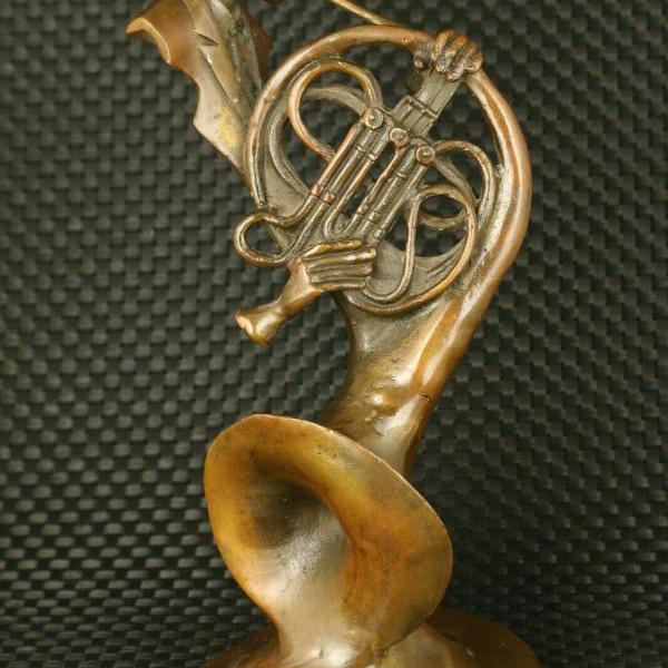 chinese bronze saxophone art man statue collectable